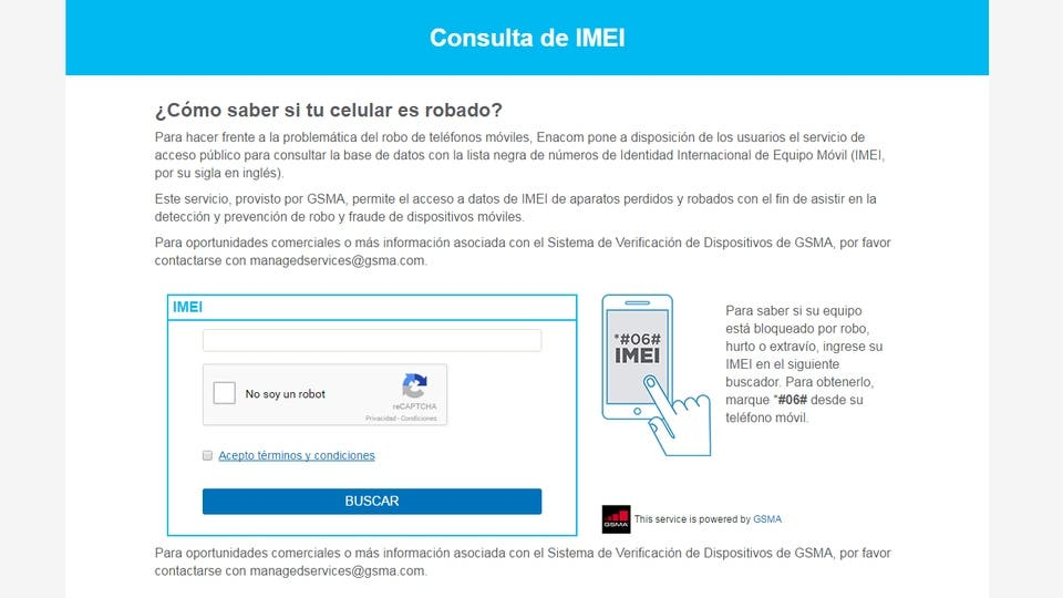 El sitio del Enacom para verificar el IMEI