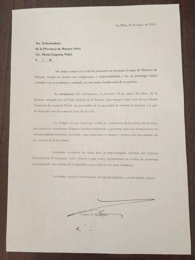 La carta que el ahora ex ministro Mahiques le envió a Vidal