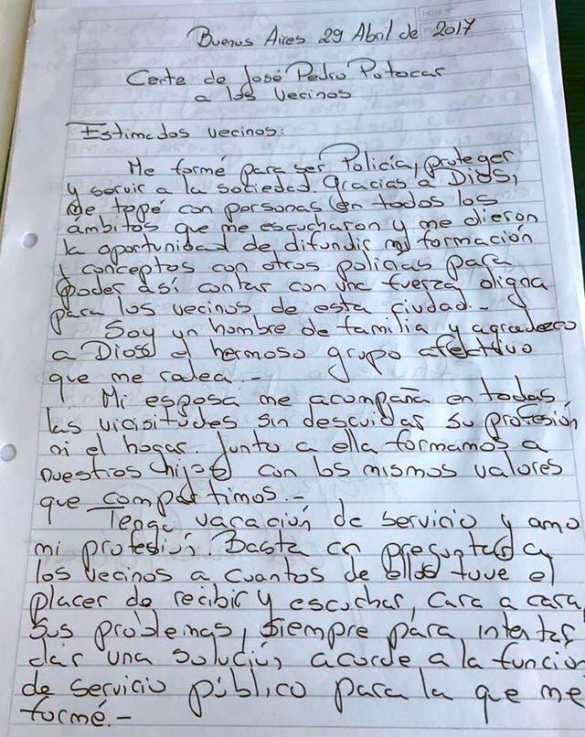 La carta que Potocar le escribió los vecinos