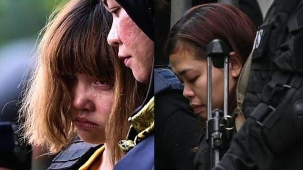 Doan Thi Huong, de camisa amarilla, y Siti Aisyah han dicho que participaban en un programa de televisión de bromas.