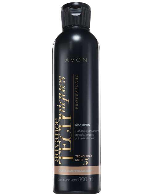Advance Techniques Óleo Cauterización Shampoo. Combina aceites de macadamia, semilla de uva, camelia, marula y almendras ($160, Avon).