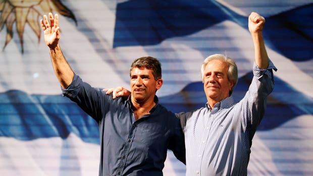 Tabaré Vazquez y Raul Sendic en octubre del 2014