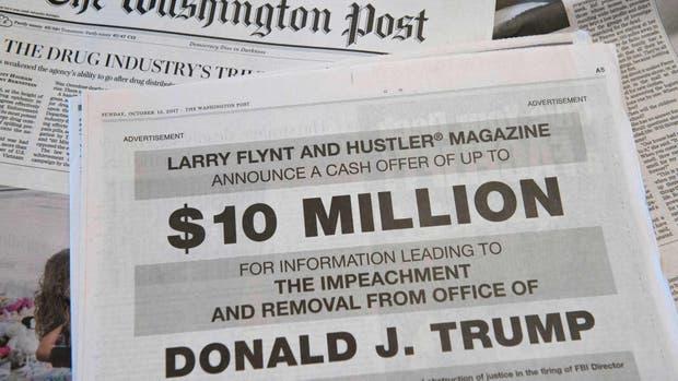 Insólito anuncio en EE.UU.: 10 millones de dólares a quien tenga data para destituir a Donald Trump