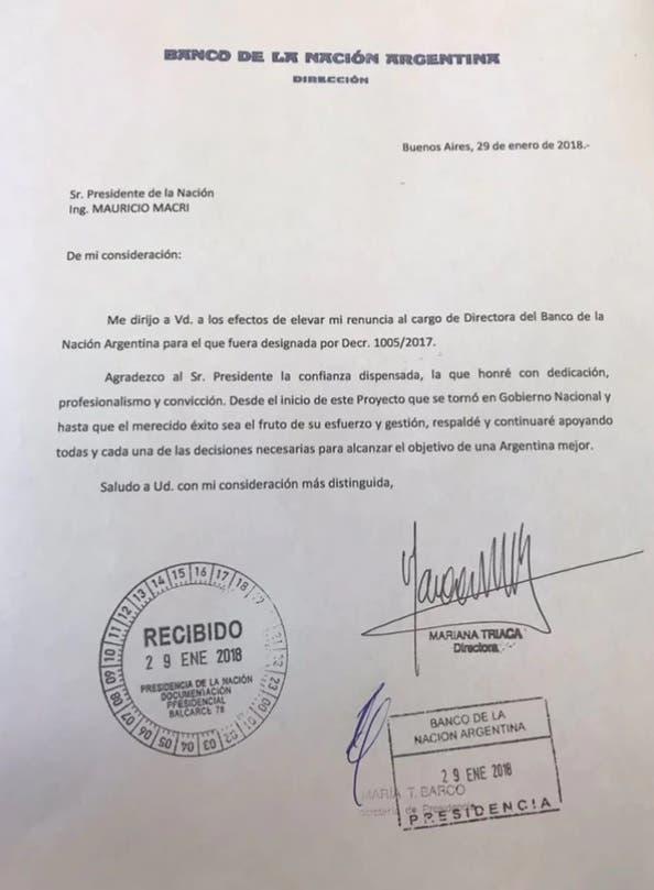 La renuncia de Mariana Triaca al Banco Nación