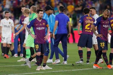 La derrota de Barcelona se advierte en el gesto de Messi.