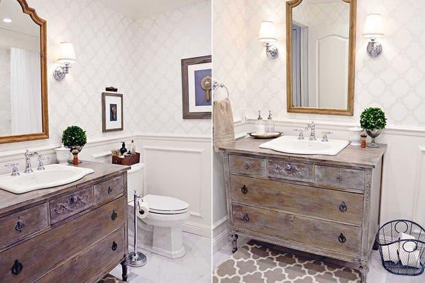 Estos muebles fueron restaurados y reacondicionados para funcionar como vanitorys con un estilo personal.  /Tidbitsandtwine.com