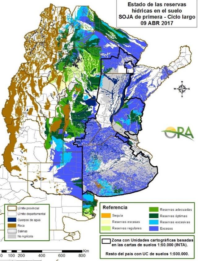 La situación hídrica al 9 de abril