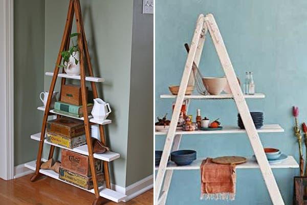 Otra opción que podés implementar. La primera esta hecha con un par de muletas en desuso. La segunda con una vieja escalera y estantes del mismo color. Eso sí, no es a prueba de niños. Foto: Visit ecomaniablog.blogspot.com.es, http://www.handimania.com/craftspiration/