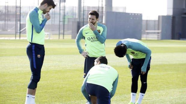 Messi en la práctica de Barcelona, que el domingo se mide ante Leganés