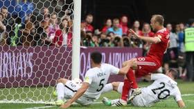El momento del gol de Rusia, el primero del partido