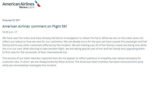 El comunicado completo en la web de Américan Airlines.