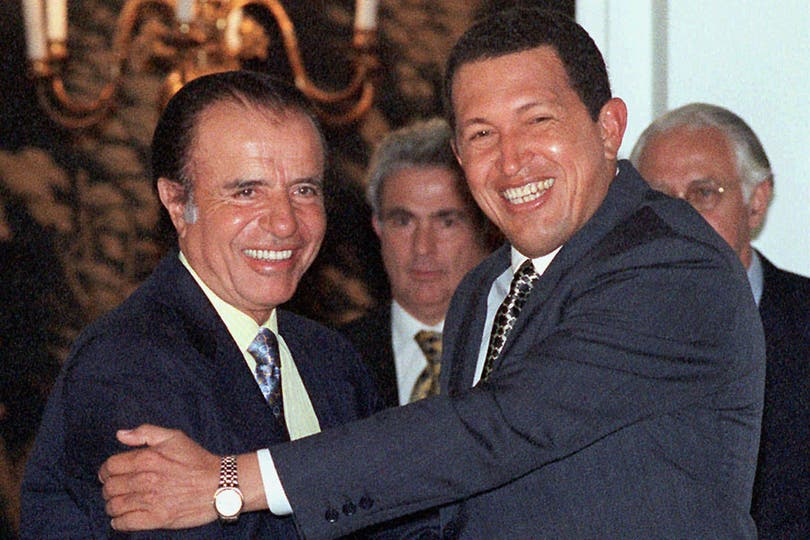 El 16 de diciembre de 1998, Carlos Menem recibió a Hugo Chávez. Foto: Archivo