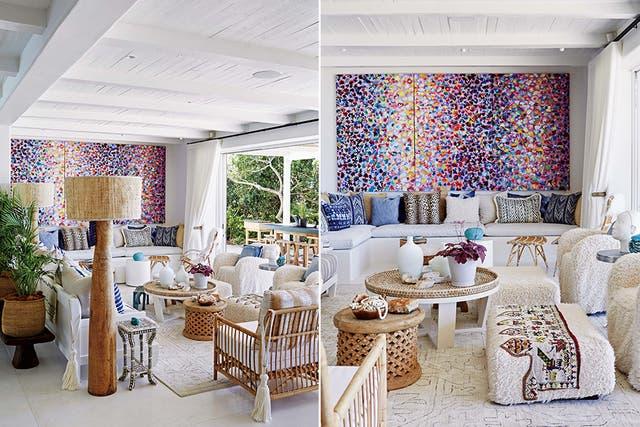 La hermosa alfombra está tejida en telar (Herringbone)