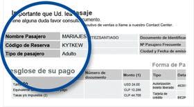 El código de reserva, o PRN, se imprime en los tickets y la etiquetas de las valijas