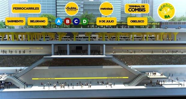 El proyecto oficial prevé una estación con tres niveles para combis, trenes y subtes