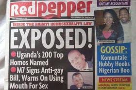 Tapa del diario ugandés Red Pepper, en la publicación de hoy con una lista de 200 nombres de supuestos gays