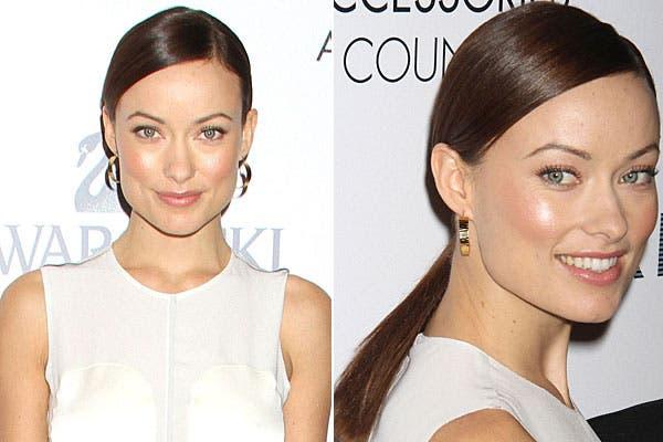 Una opción es usar el pelo bien tirante hacia atrás, atado en una colita, como lo usa Olivia Wilde. Foto: Thetrenddiaries.com
