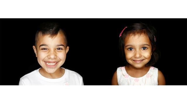 Yazan Almadani, de 7 años, de Bagdad, Irak y Svetlana Grace Joseph, de Mumbai, India