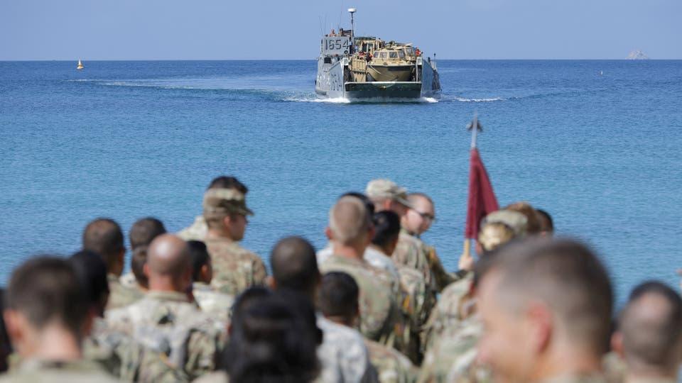 Gran cantidad de soldados de la Compañía Médica de Apoyo del Área 602 llegan a Charlotte Amalie, St. Thomas, Islas Vírgenes. Foto: Reuters / Jonathan Drake