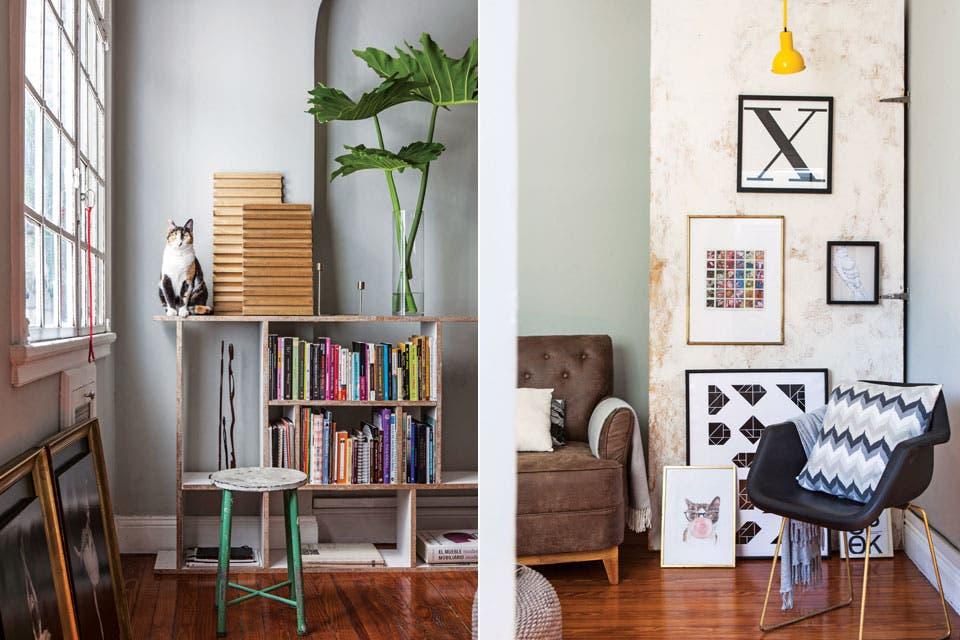 El living es el espacio más usado de la casa y por lo tanto, el más versátil. Aquí están los libros, la música, el sillón para relajarse y un gran puf circular que puede ser mesa o asiento según la ocasión .  Foto:Living /Javier Picerno