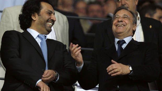 El jeque de Málaga con Florentino Pérez, presidente de Real Madrid