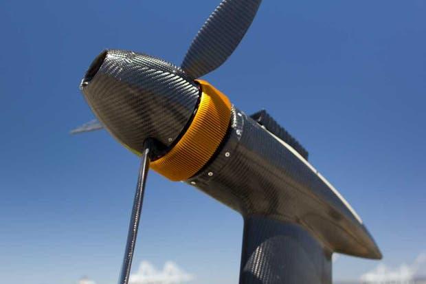 Un detalle de la turbina generadora de energía eólica de Makani, una empresa adquirida por Google X
