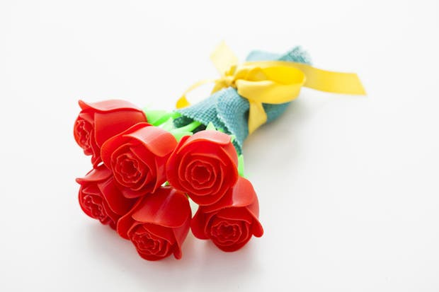 Las rosas están hechas con una impresora 3D