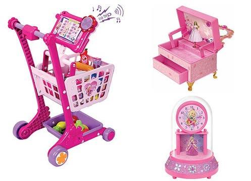 El mundo de Barbie, con carrito de compras ($450, en Coto y Falabella), joyero y reloj con cajitas de música ($104,90 y $140, en Magneto). Foto: lanacion.com