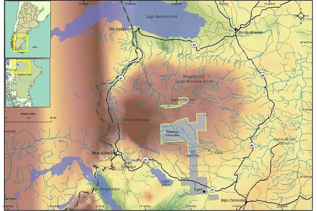 Mapa con el área delimitada del Parque Patagonia
