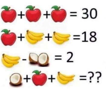 Acertijo de álgebra con frutas