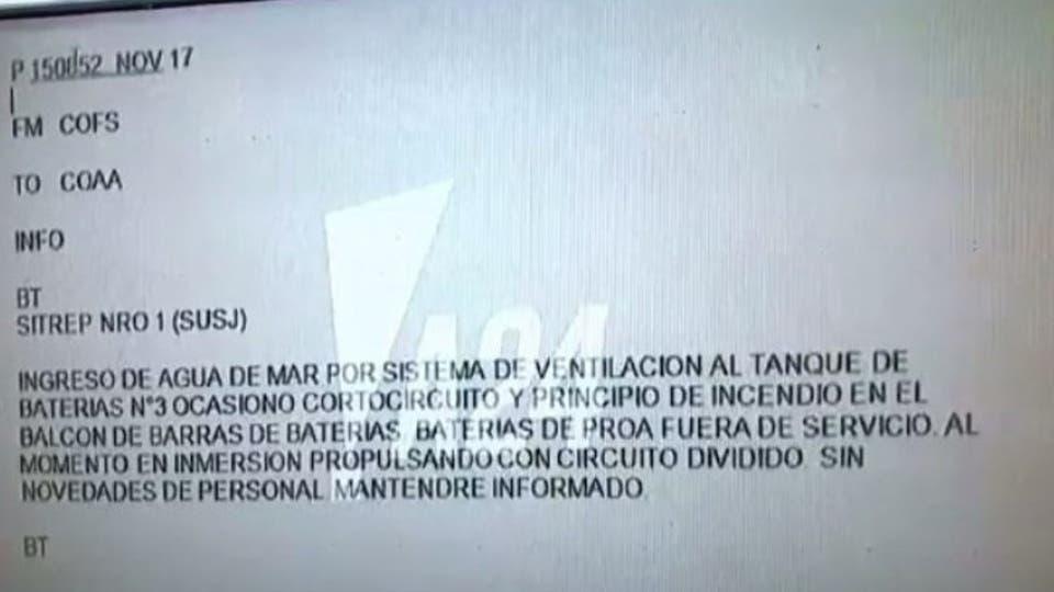 La transcripción del último mensaje emitido por el submarino ARA San Juan por radiofrecuencia, el último miércoles 15 de noviembre foto: Archivo Captura TV
