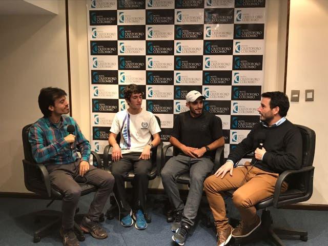 Los atletas Martín Méndez y Juan Ignacio Redolatti en conversación con LNCorre