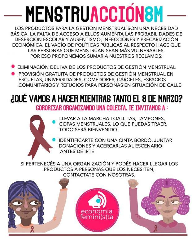 La #MenstruAcción el nuevo reclamo que busca sumarse al paro del 8M
