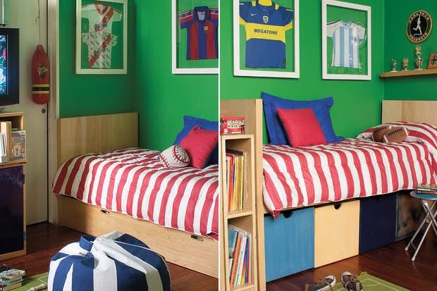 Un modelo simple que incorpore espacios de guardado cuando los metros en la habitación no sobran. Aquí, los cajones aportan, además, color y diseño..  /Archivo LIVING.