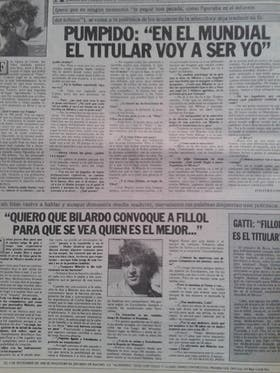 Pumpido e Islas peleando por el puesto y mezclados en la polémica por la no convocatoria de Fillol, en la revista Sólo Fútbol
