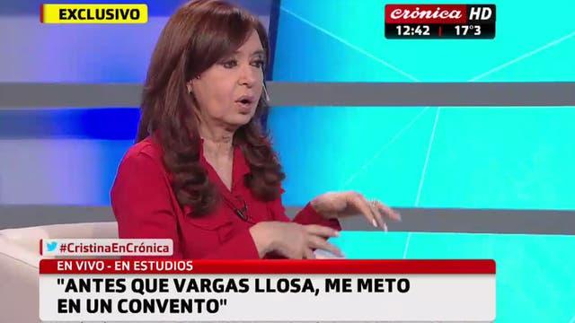 Las placas del Crónica durante la entrevista con Cristina Kirchner