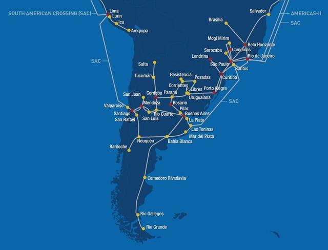 El cableado submarino y terrestre de Level 3 en América latina; la Argentina es el último eslabón y se conecta por Las Toninas y por Valparaíso, en Chile