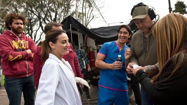 Estevanéz y Wexler mantienen el buen humor durante toda la jornada de grabación. Foto: LA NACION / Fernando Massobrio