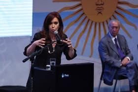 Cristina Kirchner, anteayer, en un acto