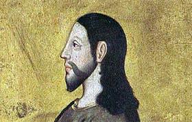 Detalle del retrato de Cristo, sobre el panel de roble inglés, entre 1485 y 1909