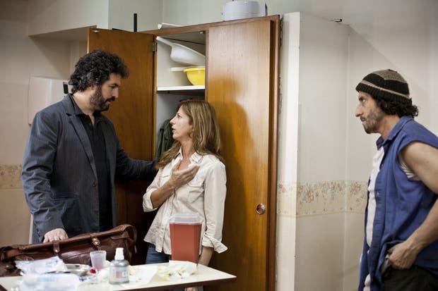 Taratuto, en pleno rodaje de La Reconstrucción, con Peretti y Fontán