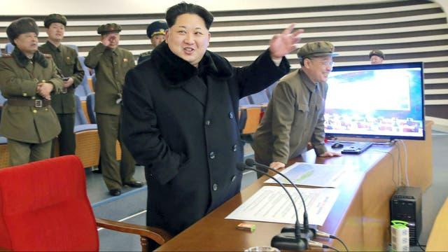 Kim, durante un lanzamiento de un misil en febrero