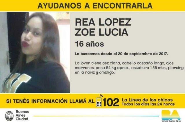 Zoe, de 16 años, fue vista por última vez el 20 de septiembre