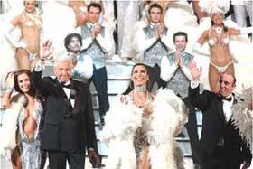 Rolo Puente, Florencia de la V y Ciliberto en el espectáculo de Gerardo Sofovich