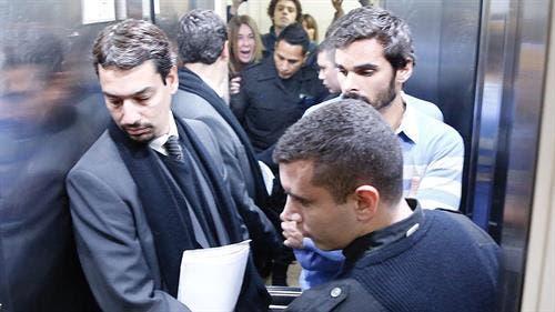 Adriana Aruj le grita a Silvoso, ya en el ascensor, escoltado por la policía y su entonces abogado Sergio Curzi