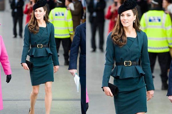 Kate Middleton y un clásico de su guardarropa, blazer corte peplum, falda tubo y cinturón marcando la cintura. Foto: Foto: www.lavidadeserendipity.com