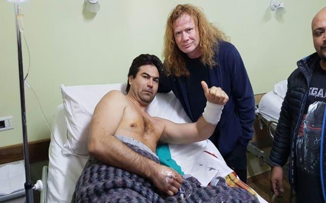 GEsto curador El año pasado, el líder de Megadeth, Dave Mustaine, visitó a Víctor Vargas, herido en un hecho de inseguridad que se produjo antes del show de esta banda en Neuquén