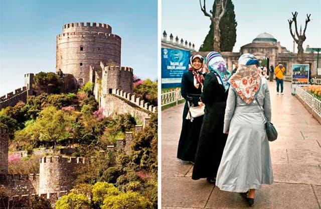 Izquierda: la cantidad de castillos y fortalezas de esta ciudad habla de su pasado imperial. Derecha: los pañuelos de las mujeres se llaman hiyab e indican la religión a la que pertenecen