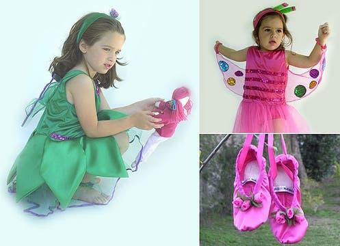 Hadas, mariposas, bailarinas... Hay variedad de disfraces en Quicamaravillas, que hacen juego con las balerinas ($90 y $45, www.quicamaravillas.com.ar). Foto: lanacion.com