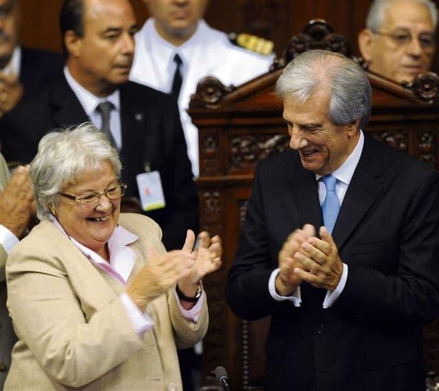 Topolansku y Vázquez, durante la asunción del presidente, en 2015